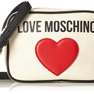 Love Moschino - Borsa Canvas Naturale+pebble Pu Ner, Bolsos baguette Mujer, Beige (Natural Canvas-black), 7x15x19 cm (B x H T)