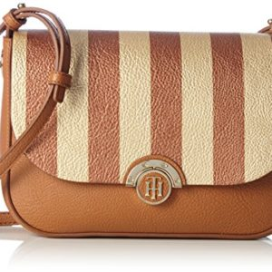 Tommy Hilfiger - Effortless Novelty Flap Crossover Stripe, Bolsos bandolera Mujer, Braun (Cognac/ Gold Stripe), 7.5x18x23 cm (B x H T)