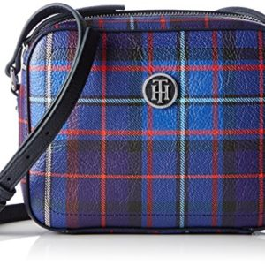 Tommy Hilfiger - Effortless Novelty Camera Bag Print, Bolsos bandolera Mujer, Blau (Tartan), 5x18x23 cm (B x H T)