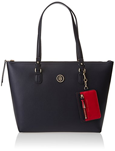 Tommy Hilfiger Love Med Rev Zip Tote, Bolso Totes para Mujer, Varios Colores (Tommy Navy Tommy Red), 13x28x36 cm (W x H x L)