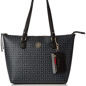 Tommy Hilfiger Love Tommy Med Rev Zip Tote, Bolso Totes para Mujer, Negro (Logo/ Black), 13x28x36 cm (W x H x L)