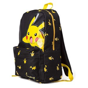 Bioworld POKEMON Big Pikachu Print Backpack Mochila tipo casual, 45 cm, 15 liters, Negro (Black)