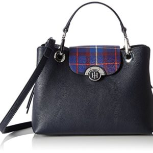 Tommy Hilfiger Effortless Novelty Med Satchel Print, Bolso Totes para Mujer, Varios Colores (Tommy Navy Tartan), 13x20.5x25.5 cm (W x H x L)