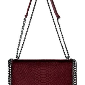 CRAZYCHIC - Women's Chain Cross Body Bag Ladies Chains Shoulder Strap Handbags - Python Snake Quilted Faux Fur Leather - Snakeskin Embossed Fashion Clutch Purse Messenger Girls Bags - Rojo Burdeos
